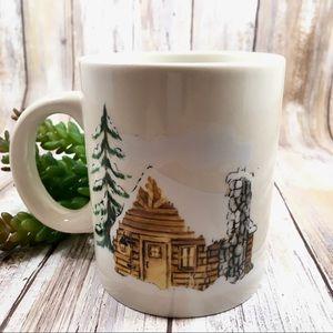 Stoneware cozy winter cabin mug, coffee cup hygge